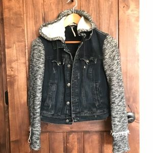 Free People Knit Hoodie Denim Jacket